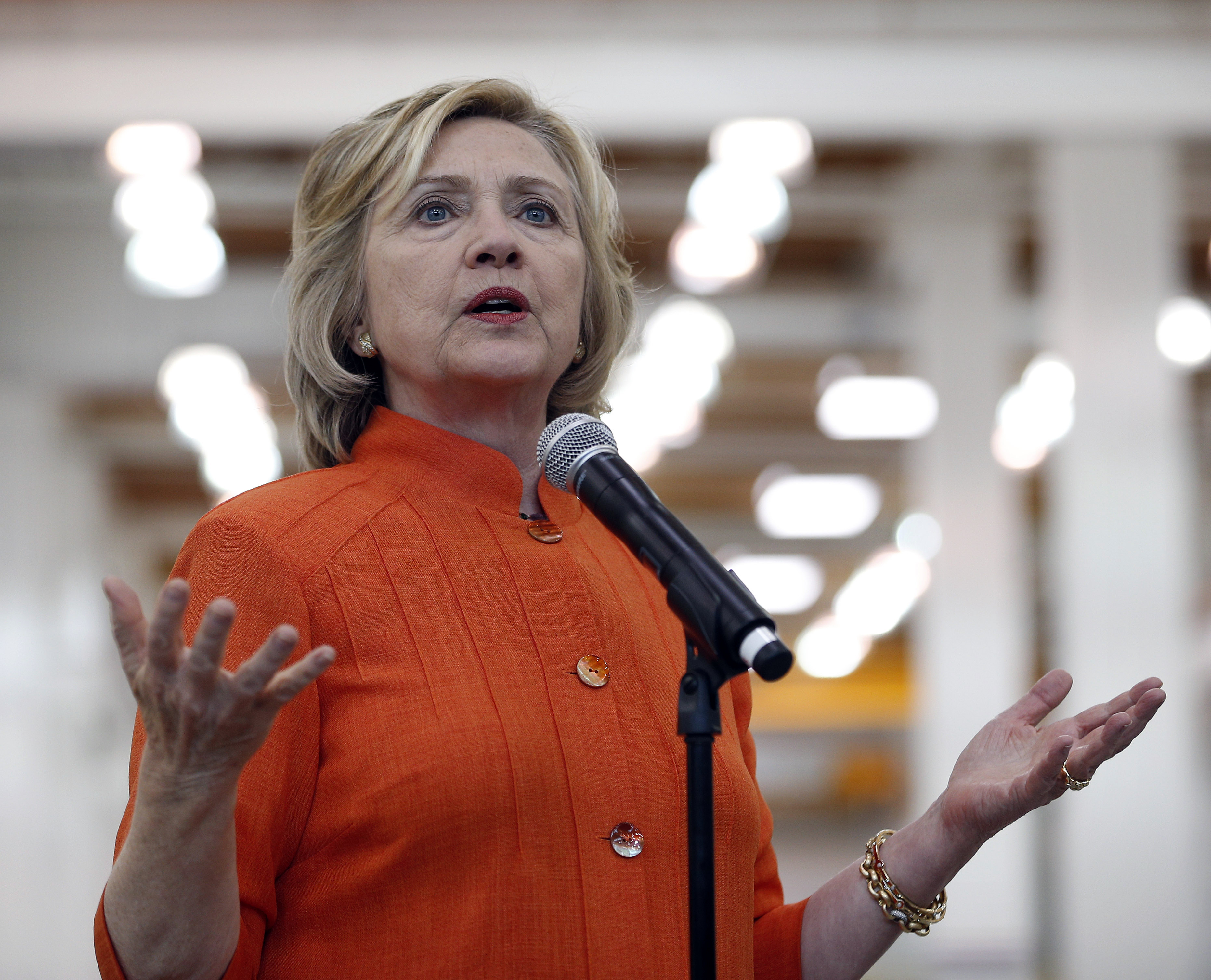 Democratic presidential candidate Hillary Rodham Clinton speaks while touring the Carpenters International Training Center on Tuesday, August 18, 2015, in Las Vegas. The training center was on of several places Clinton visited in the Las Vegas area on Tuesday. Photo: AP