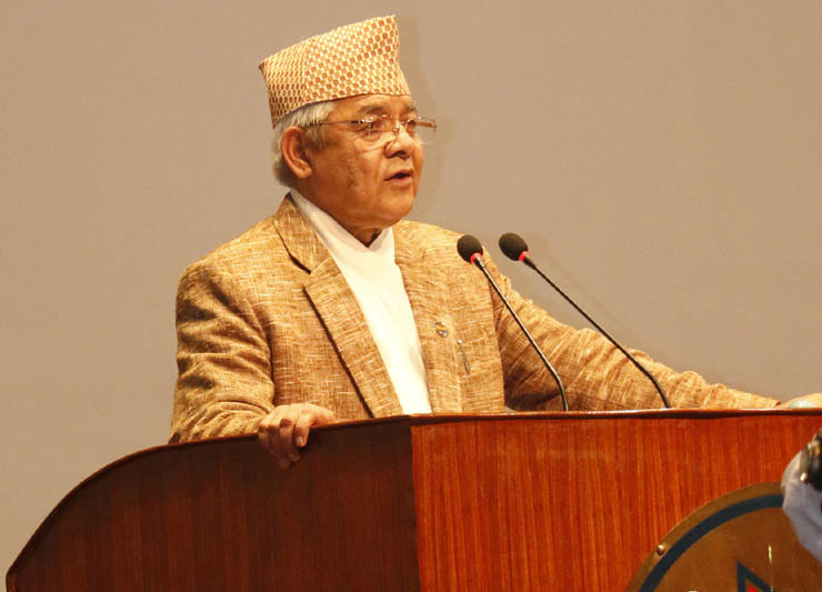 DPM Bamdev Gautam informing the House about the Kailali incident on Monday, April 24, 2015. Photo: RSS