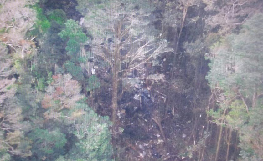 A screen grab of a handout photograph released by Indonesia's National Search and Rescue Agency (Basarnas) shows what is believed to be the site of Sunday's crash of the Trigana Air Service ATR 42-300 plane, in the heavily forested Bintang Mountains district, Papua province, Indonesia August 17, 2015.