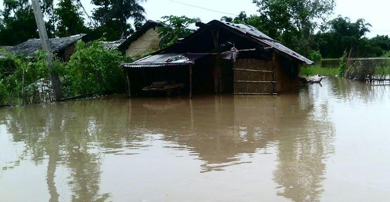 A locality is seen inundated. Photo: Tekendra Deuba