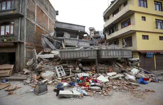 A collapsed building is pictured after an earthquake hit, in Kathmandu, Nepal April 25, 2015. Photo: Reuters