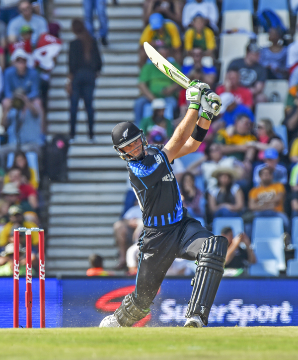 Martin Guptill of New Zealand bats against South Africa during their second T20 match in Pretoria on Sunday. Photo:AP