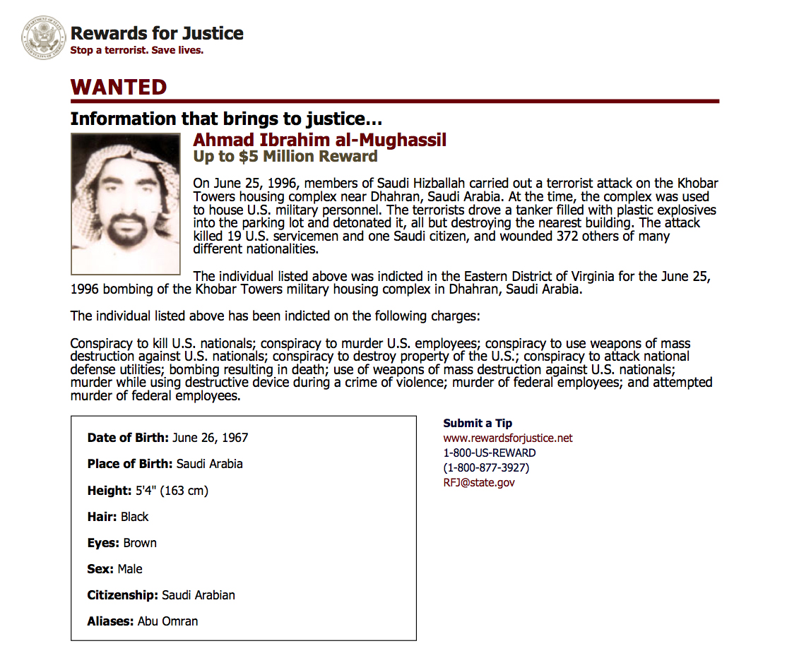 This wanted poster from website of the U.S. State Department's Rewards For Justice program shows a mugshot of Ahmed al-Mughassil, the man suspected in the 1996 bombing of the Khobar Towers residence at a U.S. military base in Saudi Arabia. A U.S. official told the Associated Press on Wednesday, Aug. 26, 2015 that al-Mughassil has been captured.  Photo: AP