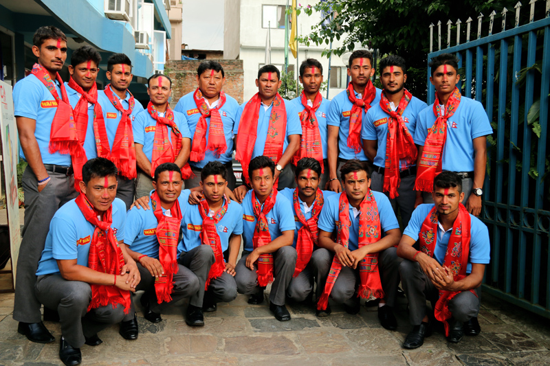 Nepal U-19 cricketers and officials pose for a group photo after the farewell ceremony in Kathmandu on Tuesday. Photo: THT