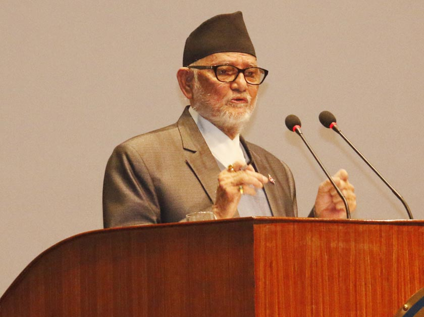 Prime Minister Sushil Koirala addresses the House, urging all to maintain restraint after the Kailali incident, on Monday, April 24, 2015. Photo: RSS