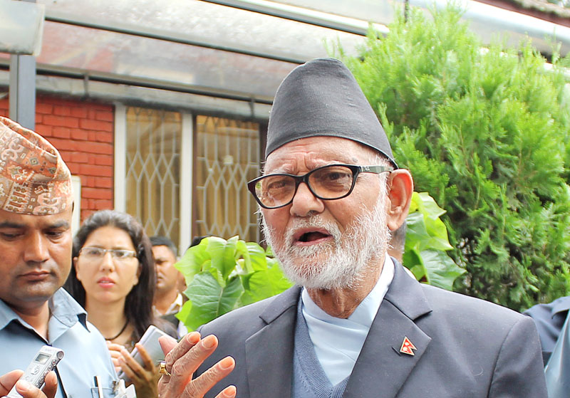 Prime Minister Sushil Koirala briefs media after a meeting of the Constitutional Political Dialogue and Consensus Committee's Special Committee, comprising of top leaders of Nepali Congress, CPN-UML, UCPN-Maoist and the Madhesi Janadhikar Forum- Democratic, held on Tuesday at Singha Durbar, Kathmandu. Photo: RSS