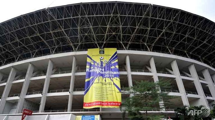 A banner of the Indonesian Football Association (PSSI) congress is displayed at the Gelora Bung Karno stadium taken in Jakarta. Photo: AFP/File
