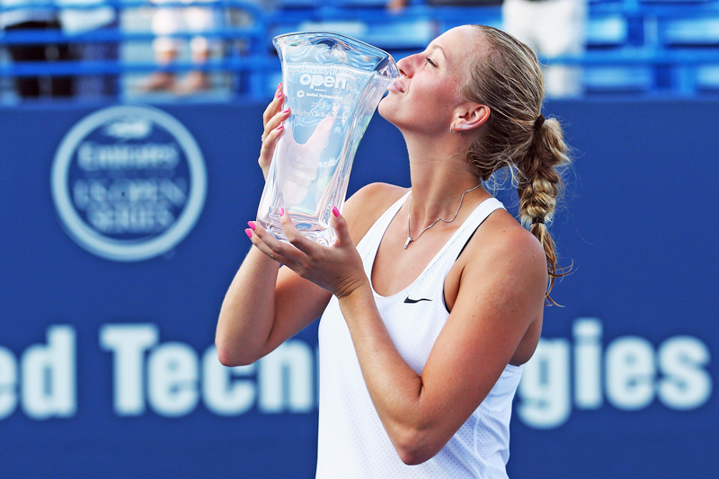 Petra Kvitova of Czech Republic kisses the trophy after winning the Connecticut Open in New Haven on Saturday. Photo: AFP