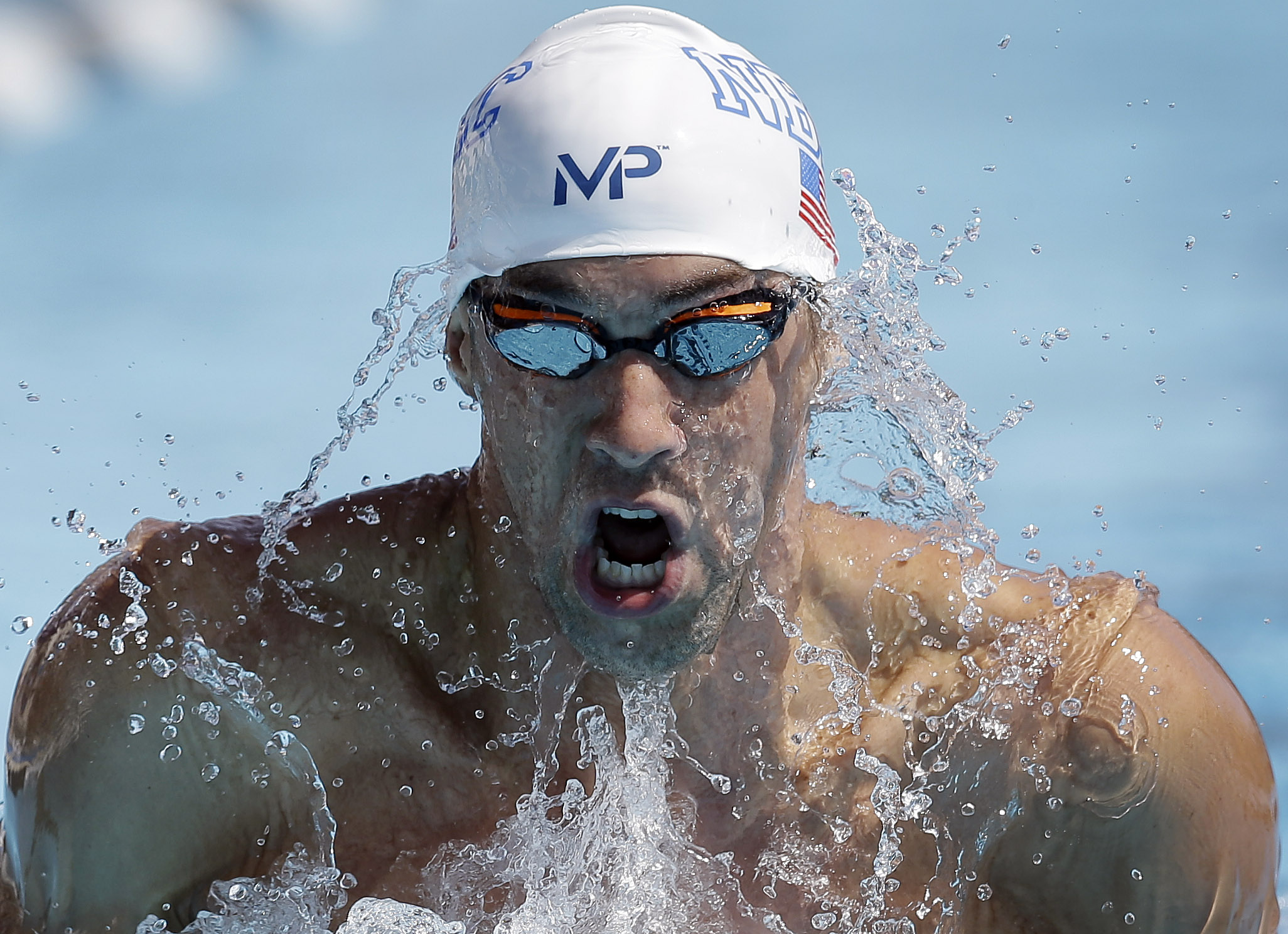 Michael Phelps competing in the preliminary round of the men's 200-metre breaststroke at the US national championships, in San Antonio, on Monday. Photo: AP