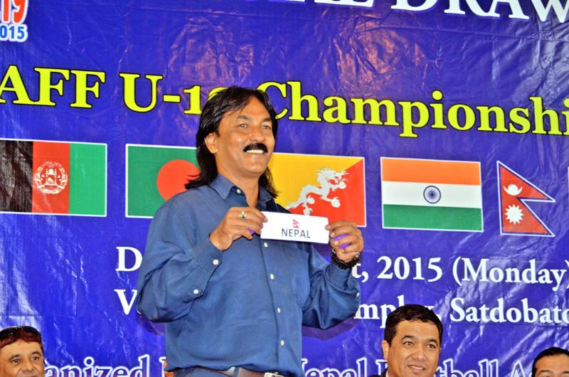 Former Nepal skipper Raju Shakya draws Nepal's name for SAFF U-19 Championship on Monday. Photo: THT