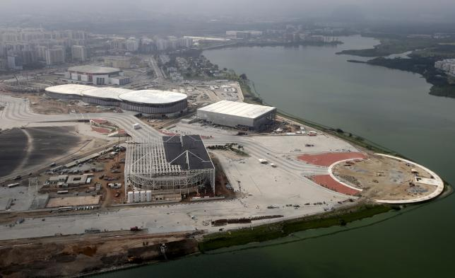 An aerial view of the Rio 2016 Olympic Park construction site in Rio de Janeiro, Brazil, July 29, 2015. Rio de Janeiro starts the one year countdown to host the Rio 2016 Olympic Games on Wednesday, August 5. Picture taken July 29, 2015. REUTERS/Ricardo Moraes