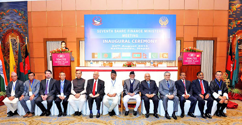 Prime Minister Sushil Koirala (eighth from left) and Finance Minister Ram Sharan Mahat (to his right) posing for a group photo after the inaugural ceremony of seventh SAARC Finance Ministers' meeting, in Kathmandu, on Thursday. Photo: Bal Krishna Thapa/ THT
