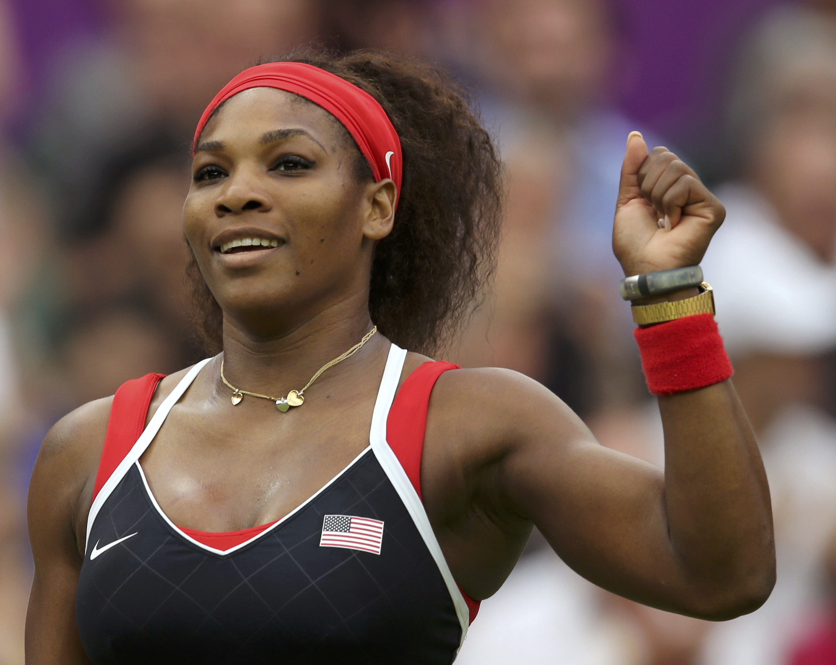 Serena Williams of the US celebrates after defeating Russia's Vera Zvonareva in their women's singles tennis match at the All England Lawn Tennis Club during the London 2012 Olympic Games August 1, 2012. Photo: Reuters/ File