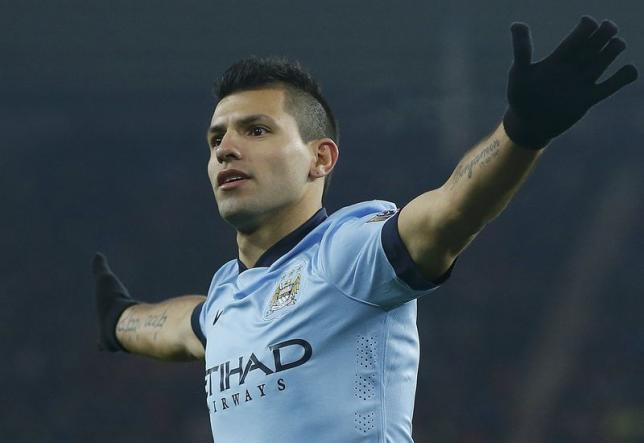 Manchester City's Sergio Aguero celebrates his second goal against Sunderland during their English Premier League soccer match at theStadium of Light in Sunderland, northern England, December 3, 2014. Photo: Reuters/ File