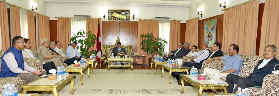 Top leaders of major four parties meet to review the recent violent protests in the wake of Kailali incident, at the PM's official residence, on Tuesday, August 25, 2015. Photo: RSS
