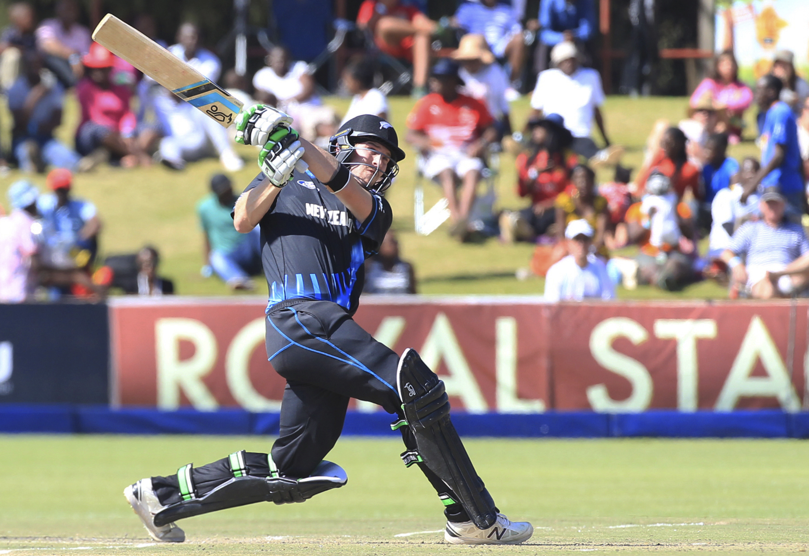 New Zealandu2019s George Worker plays a shot against Zimbabwe during their T20 match, in Harare, on Sunday. Photo: AP