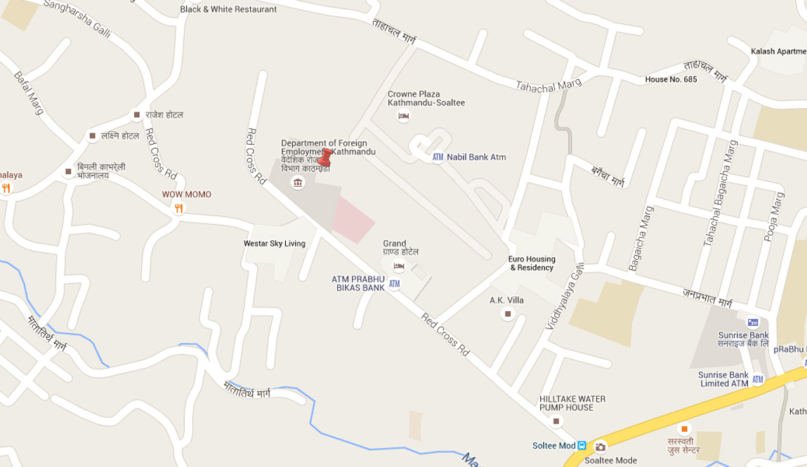 Epicentre of the aftershock at 10: 42 am was near the Department of Foreign Employment at Kalimati, Kathmandu as reported by NSC. Source: Google Maps/ NSC