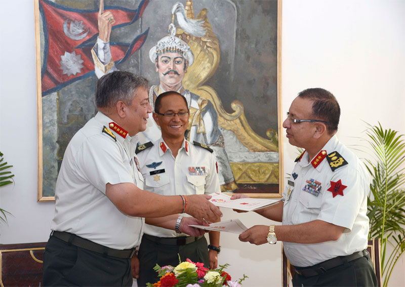 Outgoing Chief of Army Staff Gaurav SJB Rana (left) hands over responsibilities to the Acting CoAS Lieutenant General Rajendra Chhetri at the Nepal Army Headquarters, on Monday, August 10, 2015. Photo: NA Directorate of Public Relations