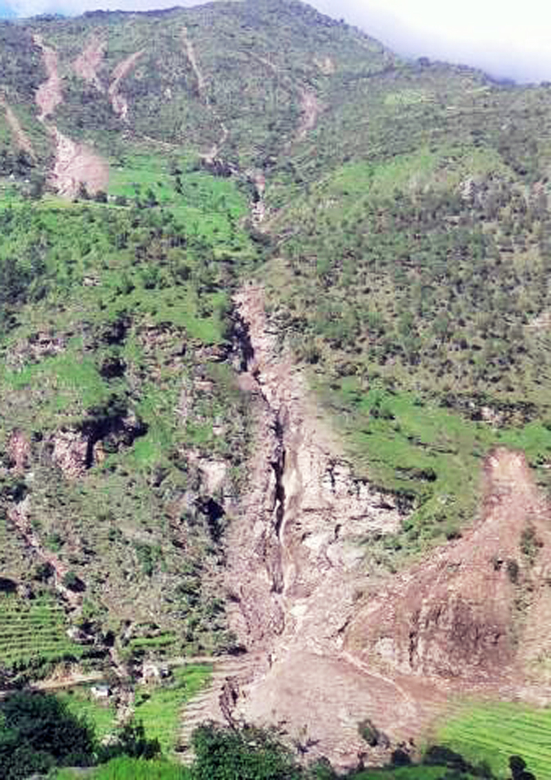 A view of the landslide that took place on Monday night at Dauda VDC, in Doti, on Thursday.  Photo:THT