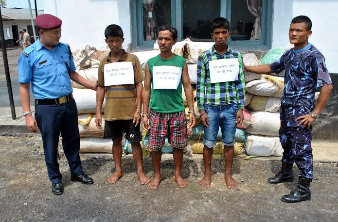 Police making public three persons who were arrested with 55 kg marijuana. Photo: Ram Sarraf