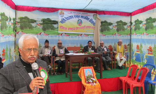 Minister for Lawu201a Narahari Acharyau201a speaking at the anniversary function of Maharshi Veda Byas Sanskrit Secondary School in Byas-10 of Tanahunu201a on Saturdayu201a February 28u201a 2015. Photo: RSS