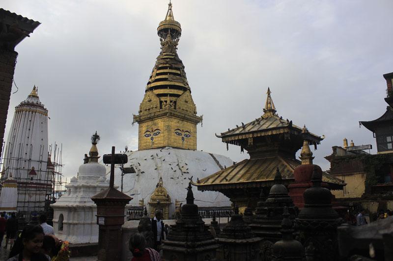 Swayambhunath Stupa after the quake. Photo: THT