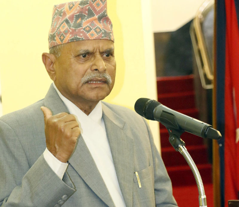 FILE- The then President Ram Baran Yadav addresses a function organised at his office in Kathmandu, on Sunday, August 2, 2015. Photo: RSS