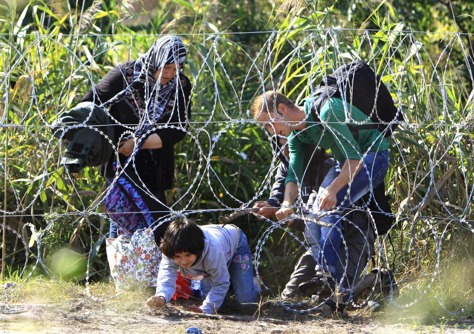 Syrian migrant family cross under a fence as they enter Hungary at the border with Serbia, near Roszke, August 28, 2015. REUTERS/Bernadett Szabo