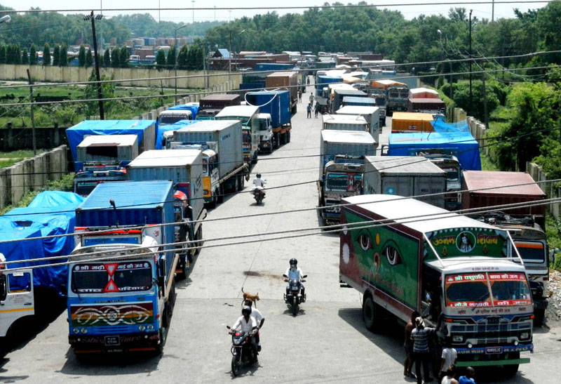 Trucks waiting to ply on the road, at the Birgunj Dry Port, in Parsa, on Wednesday, August 26, 2015. Photo: Ram Sarraf