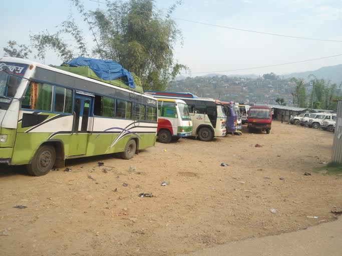 Vehicles seen parked in Phidim Bus Park due to a general strike called by the Federal Limbuwan Party in Pachthar district on Thursday, August 13, 2015. Photo: Laxmi Gautam