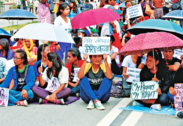 Women activists taking part in a protest to demand equal citizenship rights in the new constitution, in Kathmandu, on Friday, August 7, 2015. Photo: AFP