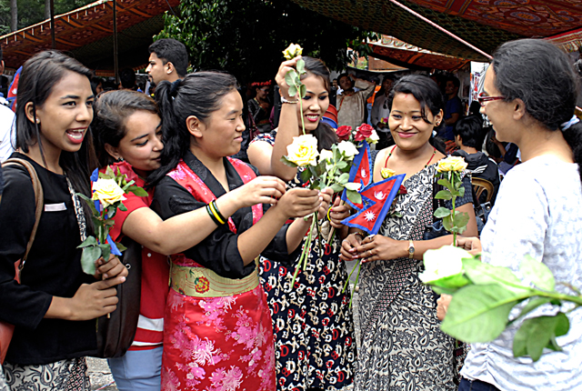 Youths participating in a rose movement as part of youth mela, in Jawalakhel, Lalitpur, on Saturday. Photo: THT