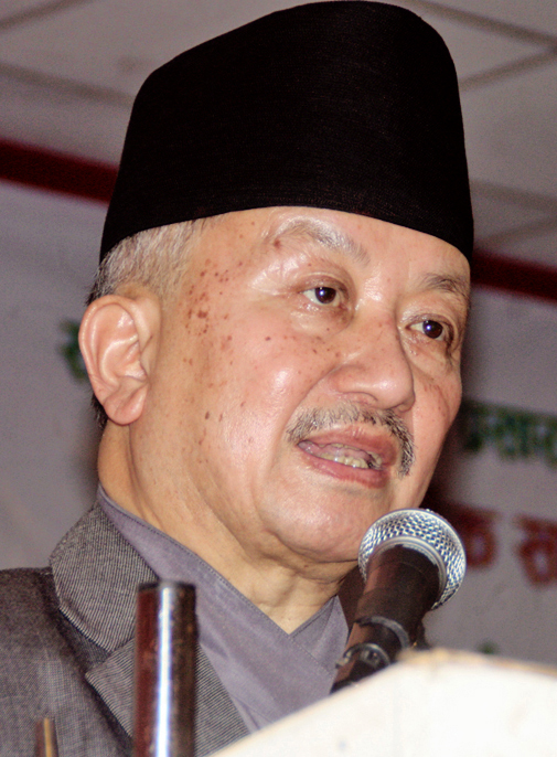 UML leader Subas Chandra Nembang speaking at the 11th General Assembly of Community Radio Broadcasting Association organised in Sauraha, Chitwan, in September 2015. Photo: THT