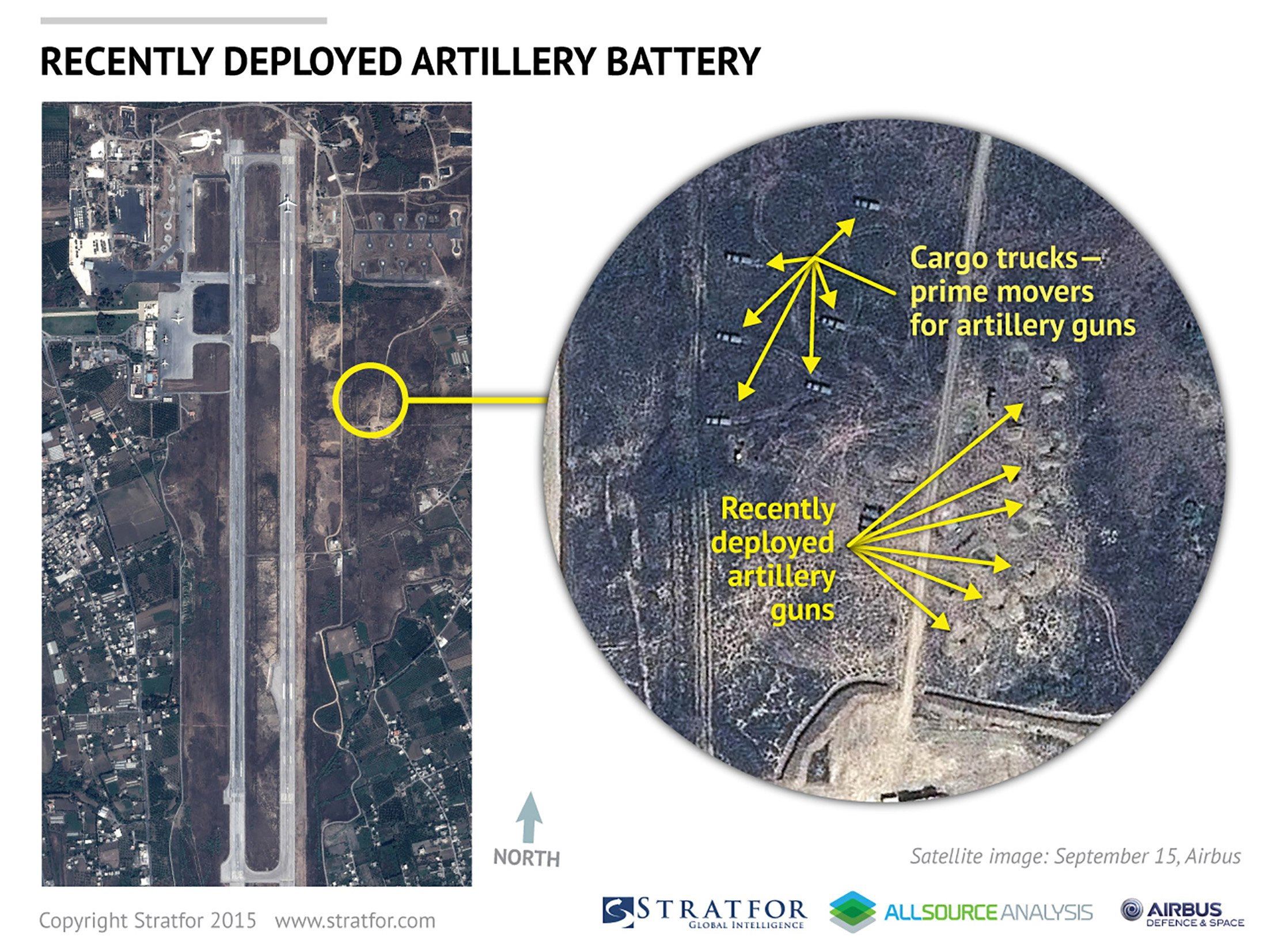 An Airbus Defence and Space satellite image courtesy of Stratfor, a geopolitical intelligence and advisory firm in Austin, Texas, shows the air base at Latakia, Syria on September 15, 2015. Photo: Airbus Defense and Space via Reuters
