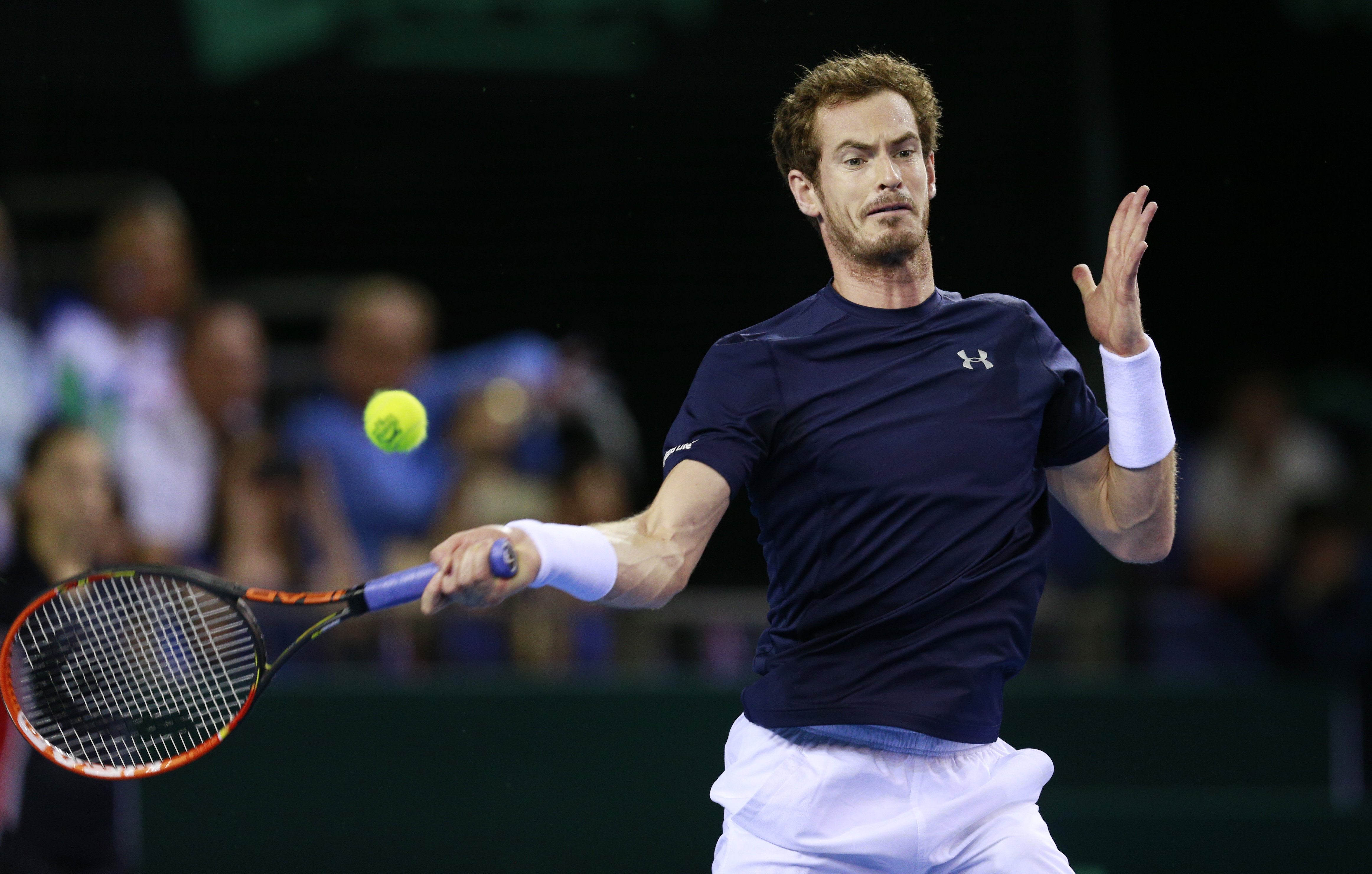 Tennis - Great Britain v Australia - Davis Cup Semi Final - Emirates Arena, Glasgow, Scotland - 20/9/15nMen's Singles - Great Britain's Andy Murray in actionnAction Images via Reuters / Jason CairnduffnLivepic