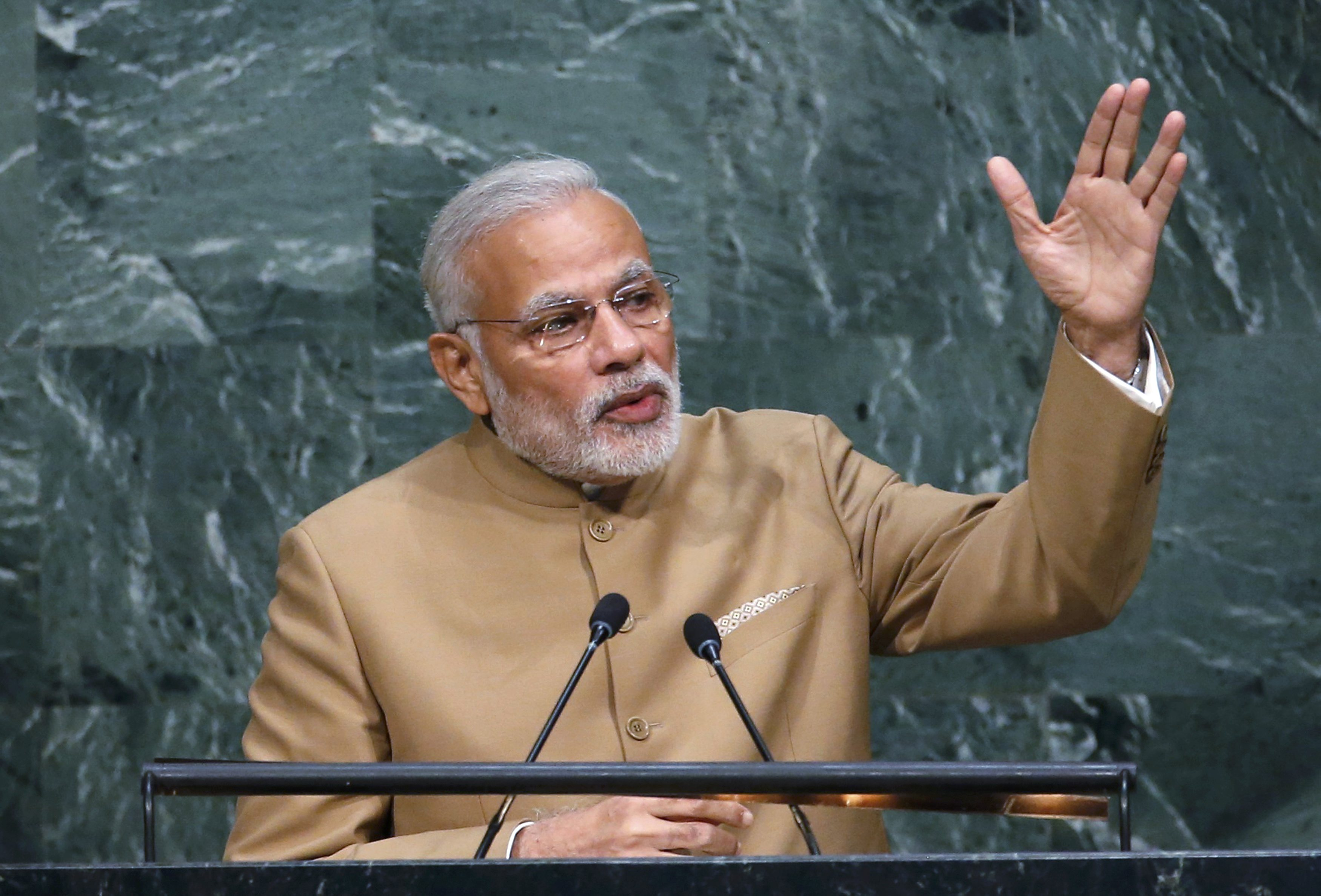 Narendra Modi, Prime Minister of India, addresses a plenary meeting of the United Nations Sustainable Development Summit 2015 at United Nations headquarters in Manhattan, New York, September 25, 2015. Photo: Reuters