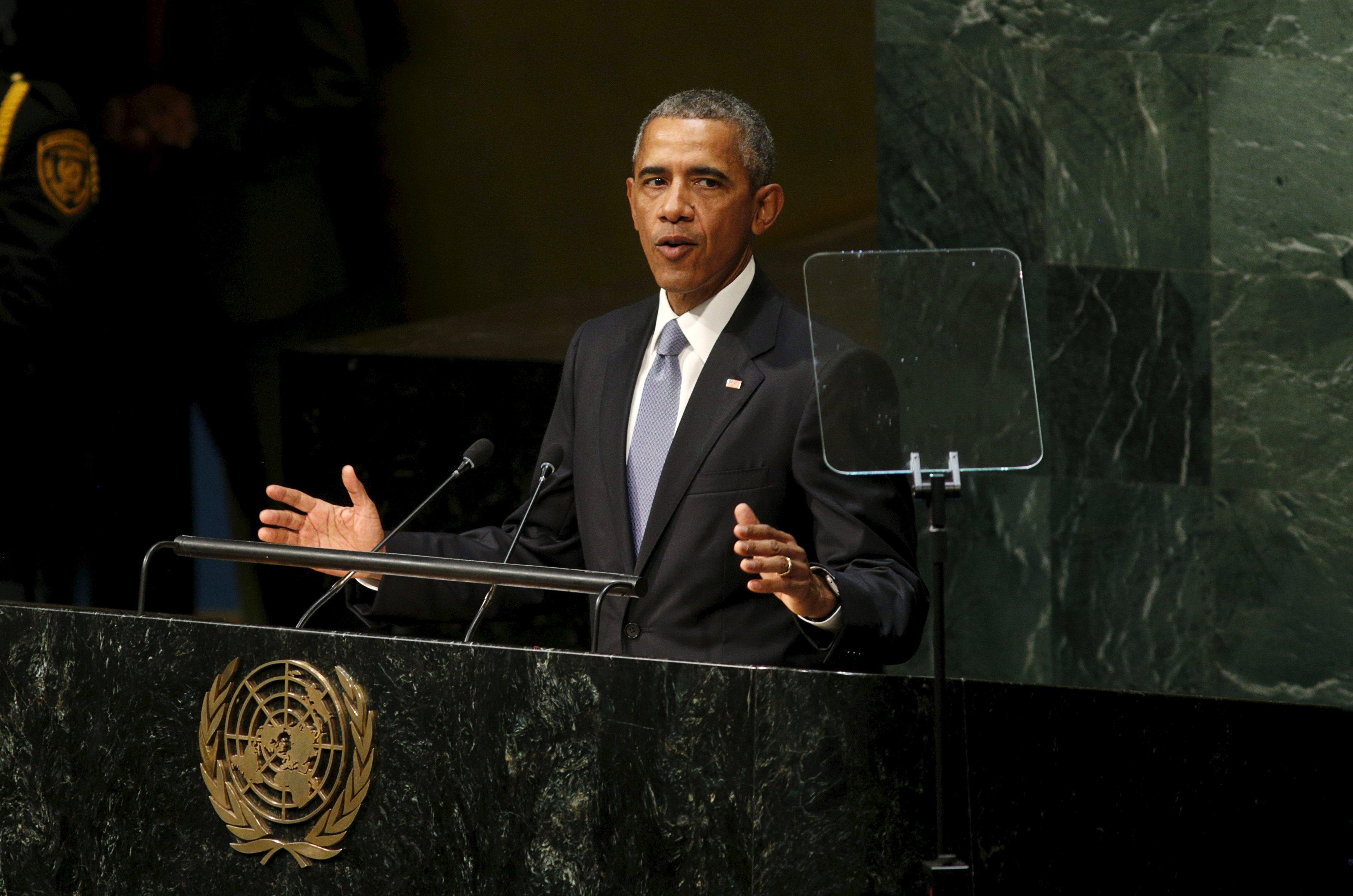U.S. President Barack Obama addresses the United Nations General Assembly in New York September 28,  2015. REUTERS/Kevin Lamarque
