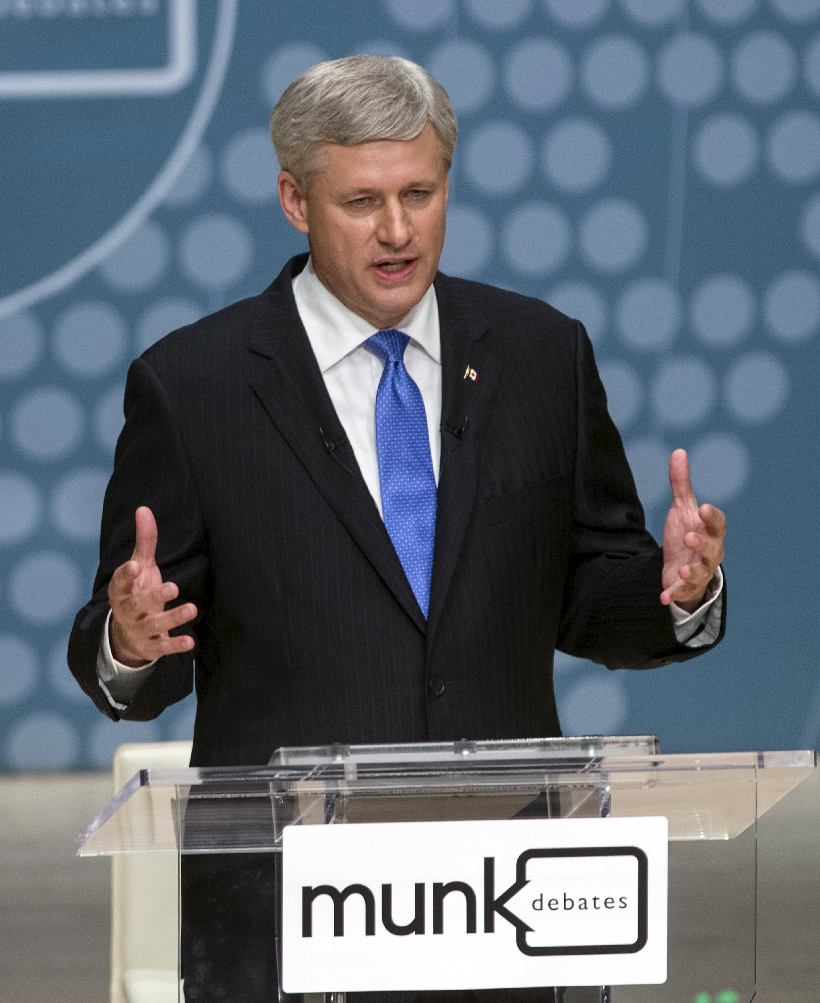 Conservative leader and Prime Minister Stephen Harper speaks during the Munk leaders' debate on Canada's foreign policy in Toronto, Canada September 28, 2015. Canadians go to the polls in a federal election on October 19, 2015. REUTERS/Nathan Denette/Pool