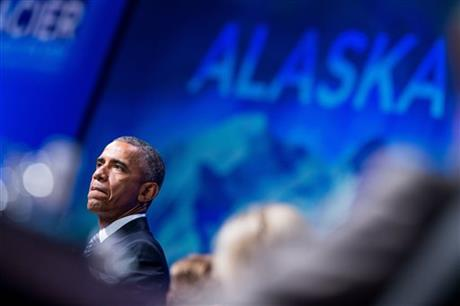 President Barack Obama speaks at the Global Leadership in the Arctic: Cooperation, Innovation, Engagement and Resilience (GLACIER) Conference at Denau2019ina Civic and Convention Center in Anchorage, Alaska, Monday, Aug. 31, 2015. Obama opened a historic three-day trip to Alaska aimed at showing solidarity with a state often overlooked by Washington, while using its changing landscape as an urgent call to action on climate change. Photo: AP