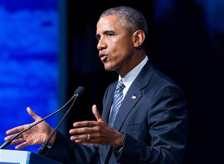 In this August 31, 2015 file photo, President Barack Obama speaks in Anchorage, Alaska. Obama will sign an executive order Monday, September 7, requiring paid sick leave for employees of federal contractors, including 300,000 who currently receive none. Photo: AP