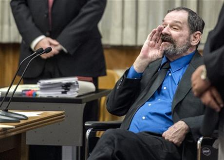 Frazier Glenn Miller yells as the jury as they leave after he was found guilty of one count of capital murder, three counts of attempted murder and assault and weapons charges on Monday, Aug. 31, 2015, in the Johnson County Courthouse in Olathe, Kan. Photo: AP