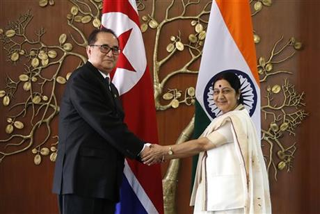 In this Monday, April 13, 2015 file photo, Indian Foreign Minister Sushma Swaraj, right, shakes hands with North Korea's Foreign Minister Ri Su Yong in New Delhi, India. Ties are warming between New Delhi and Pyongyang, with mineral-hungry India looking to boost trade while North Korea, facing sometimes-rocky relations with China, searches for new friends. The goodwill began earlier this year, when North Korea dispatched Ri on a three-day trip to India, just a few weeks before Prime Minister Narendra Modi flew to Seoul for meetings with South Korean President Park Geun-hye. Photo: AP