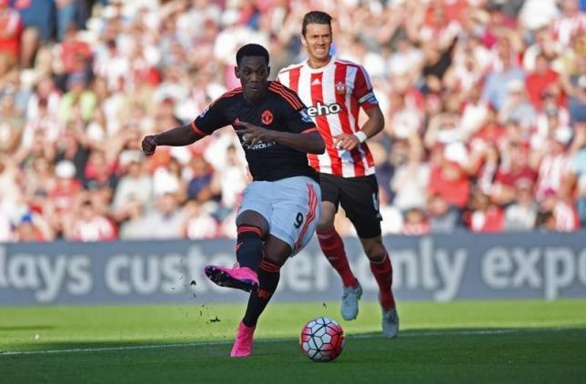 Anthony Martial scores the second goal for Manchester United. nAction Images via Reuters