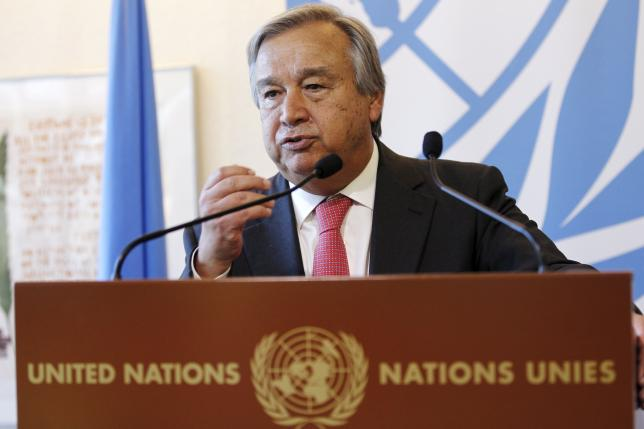 United Nations High Commissioner for Refugees Antonio Guterres speaks during a news conference on the subject of the refugee crisis in Europe, at the United Nations European headquarters in Geneva, Switzerland, August 26, 2015. REUTERS/Pierre Albouy