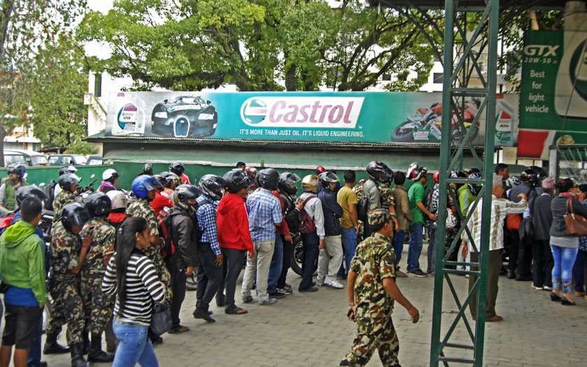 People queuing up at Nepal Army's Ripumardini Petrol Pump at Bhadrakali to fill fuel in their vehicles on Thursday, September 24, 2015. Photo: Naresh Shrestha