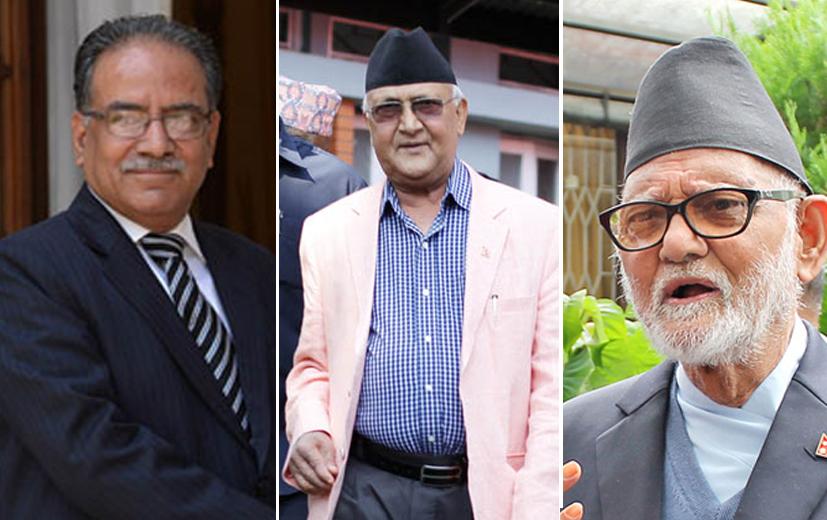 UCPN-Maoist Chairman Pushpa Kamal Dahal (left), CPN-UML Chairman KP Sharma Oli (centre) and Nepali Congress Chairman Sushil Koirala. Photos: RSS