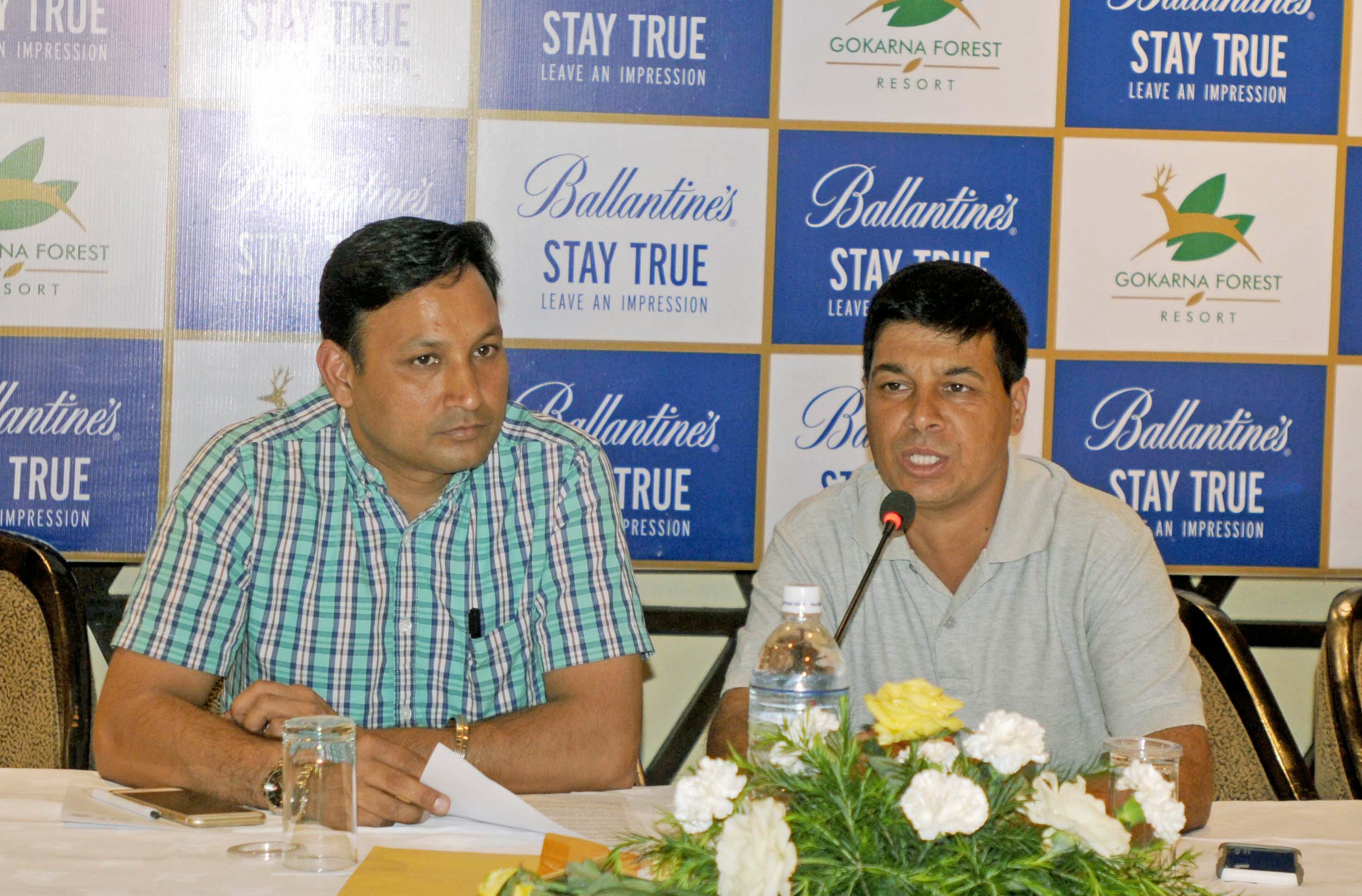 Counrty Manager of pernod Ricard India Pvt Ltd Ravinder Saini (left) and Senior Golf Director of Gokarna Golf Club Deepak Acharya at a press conference in Kathmandu on Tuesday.