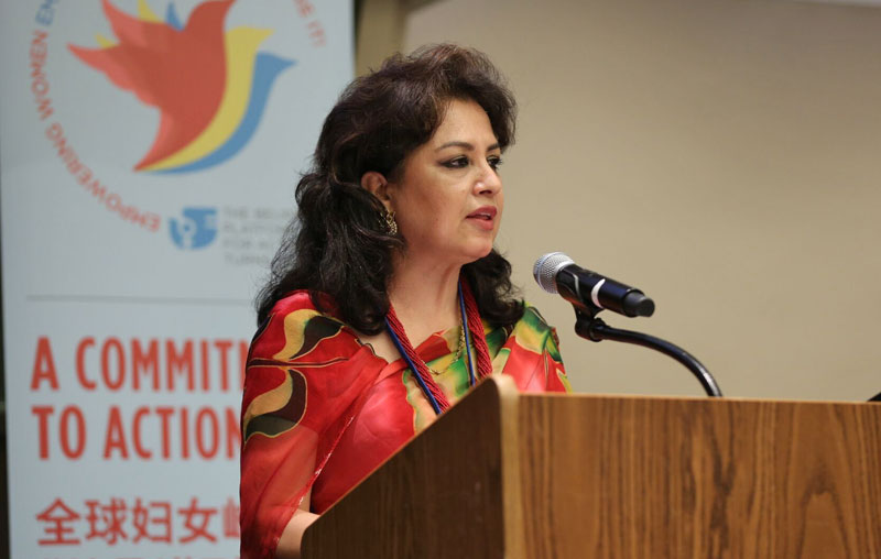 Nepal's Bandana Rana addressing a meeting of the UN heads of state as a civil society representative in New York on September 27, 2015.