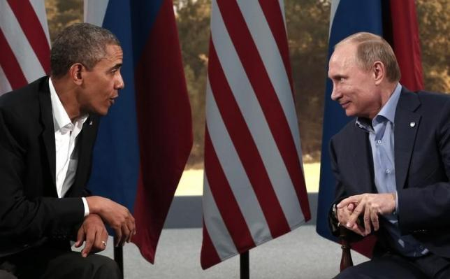 U.S. President Barack Obama (L) meets with Russian President Vladimir Putin during the G8 Summit at Lough Erne in Enniskillen, Northern Ireland June 17, 2013. Photo: Reuters