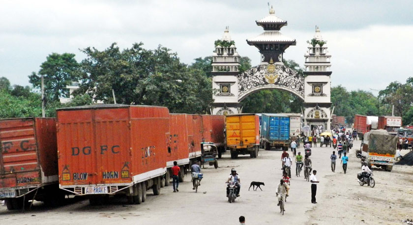 FILE - Hundreds of cargo vehicles were left stranded at Raxaul on the Indian side since last week of September last year. Photo: RSS